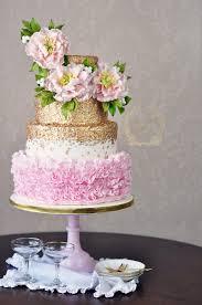 Ruffles Cake Design Peony Ruffle Wedding Cake With Gold Sequins