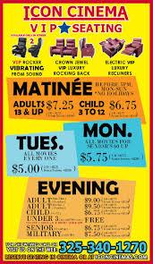 Icon Cinema San Angelo Ticket Pricing