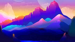 Colorful Mountains Landscape Minimalist ...