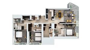 Floor Plan   3 Bedroom Hotel Apartment, Dubai