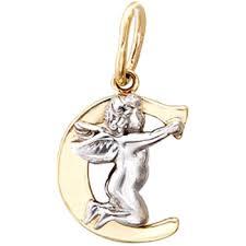 """<b>Подвеска Буква</b> """"С""""<b>из комбинированного</b> золота, ангелочки (без ..."""