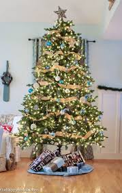 Rustic Blue and Natural Christmas Tree Decor at thehappyhousie.com-2-2