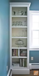 Diy glass cabinet doors Door Inserts Builtin Shelves Before Glass Cabinet Doors Were Added The Home Depot Blog Diy Glass Cabinet Doors