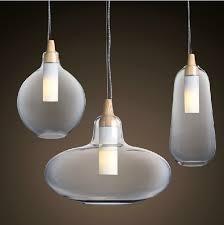 glass pendant lighting fixtures. modern glass pendant light natural curved transparent lamp wooden head hanging lights dining room lighting fixtures t