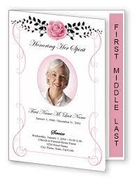 Beloved Vintage Rose Funeral Program Template Graduated Fold