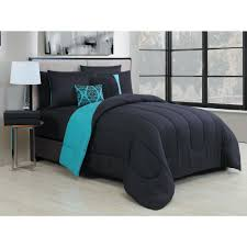 geneva home fashion solid 9 piece black teal queen bed in a bag sol9pcquenghbt the home depot