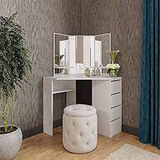 Amazon Com Victory Corner Makeup Vanity Table White Makeup Desk With Three Fold Mirrors And 4 Drawers Bedroom Dressing Table Makeup Table Kitchen Dining