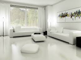 ... Modern Monochromatic White Living Room Design With Outdoor Views ...