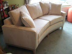 Small curved sofa for a small upstairs living room - what a wonderfully  different use of