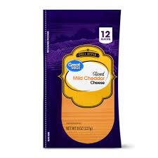 Walmart Deli Nutrition Chart Great Value Deli Style Sliced Mild Cheddar Cheese 12 Count 8 Oz Walmart Com