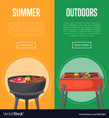 Picnic Flyers Outdoor Summer Picnic Flyers With Meats On Bbq Vector Image