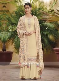 Plain Silk Salwar Kameez Designs Cream Palazzo Salwar Kameez