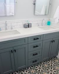 Glenwood Custom Cabinets Beach House Bathroom Remodel Frosty Carrina Quartz Counter Tops