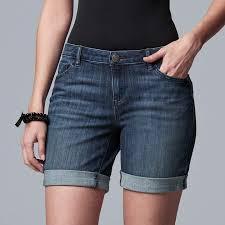 Vera Wang Womens Simply Vera Roll Cuff Midrise Jean Shorts
