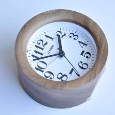 ecvision handmade classic small round silent table snooze wood alarm clock with nightlight black walnut wooden clock for alarmclockfactory com