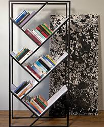 Furnitures:Awesome Black Modern Free Standing Bookshelves With Slanted  Shelves Idea Awesome Black Modern Free