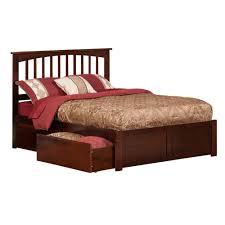 Atlantic Furniture Mission Walnut Full Platform Bed with Flat Panel ...