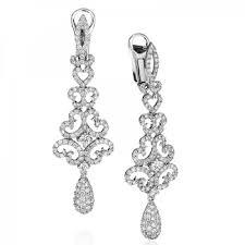 14k white gold diamond chandelier earrings 2 08tw