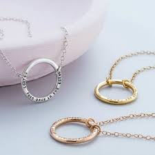 925 sterling silver with black finish 9ct yellow rose gold plate with clear finish personalised full circle necklace
