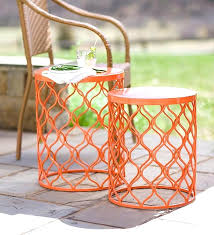 metal patio side table quik fold white