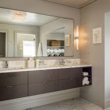 Vanity Lights Bathroom Transitional With Crown Molding Beveled Mirror - Crown molding for bathroom