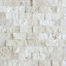 beige stacked stone mosaic tile split face travertine fireplace