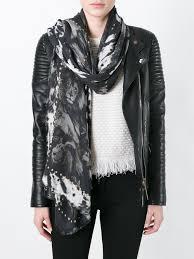 roberto cavalli fringed animal print scarf black women
