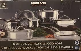 kirkland stainless steel cookware signature pieces ply clad stainless steel cookware 1 of 1 available see kirkland stainless steel
