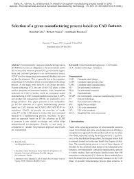 Manufacturing Process Design Input Pdf Selection Of A Green Manufacturing Process Based On Cad
