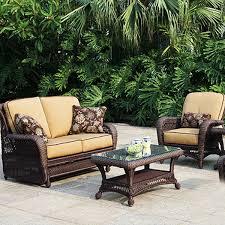 Patio glamorous wicker patio furniture dark brown and cream