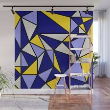 navy blue yellow and white wall mural