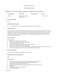 Medical Transcriptionist Resume medical transcriptionist sample resume Enderrealtyparkco 1