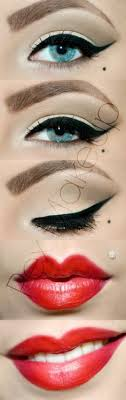 pinup beauty perfectly pin up makeup wing tips and red lips retro makeup vine makeup inspiration wing tipped eyeliner