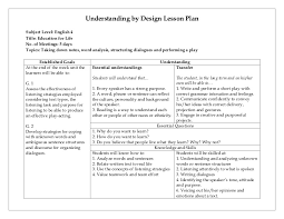 Sample Common Core Lesson Plan Inspiration Understanding By Design Lesson Plan