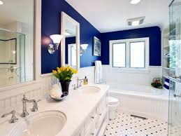 ... Dark Blue Wall Paint Colors Combination With Traditional Bathroom  Designs Also Luxury White Color ...