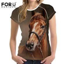 <b>FORUDESIGNS Woman</b> Tops <b>T</b>-<b>shirt</b> 3D Crazy Horse Summer Short ...