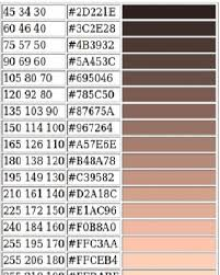Rgb Values For Different Human Skin Color Tones Download