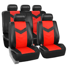 faux synthetic leather car seat covers for auto universal fit black red 0