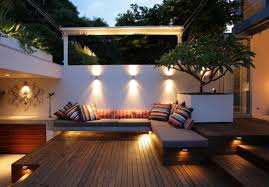 amazing modern outdoor lighting ideas to make your house perfect interesting grey lather bench and colorful awesome modern landscape lighting design
