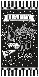 Black Happy Birthday Happy Birthday To You Door Poster Black White