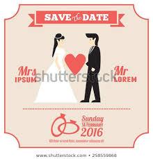 Couple Template Wedding Invitation Card Template Cartoon Couple Stock Vector