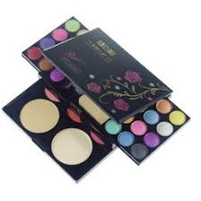 ads makeup kit eye shadow palette blush lip gloss face powder 4 in 1 with brushes
