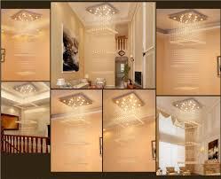 Kristallleuchter Duplex Treppenhaus Rechteckiger Einfacher Moderner Landhaus Gebäude Mittlere Fußboden Halle Führte Langen Wohnzimmer Leuchter