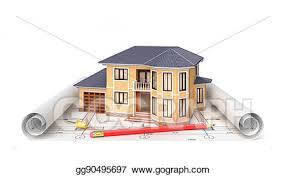 Clip Art Residential house with tools on architect blueprints