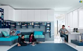 ... Cool Teens Bedroom Furniture For Decor Aqua White Contemporary Teenagers  ...