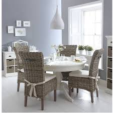 classic wicker round white dining table and 4 chair set