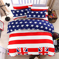 Bedroom Red White And Blue Bedding Set Bed Sheets American Flag