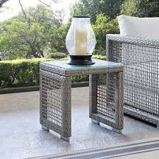 aura outdoor wicker rattan side table in gray by modway