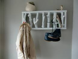 Vertical Wall Coat Rack Modern Rustic Wooden Hooks Wall Coat Rack Flat White Custom Order 81
