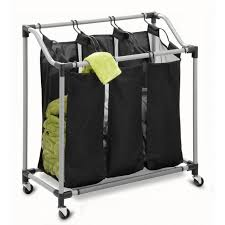 Image of: Black 3 Bin Laundry Hamper with Wheels